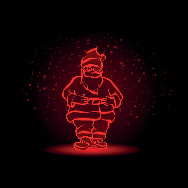 ilustrações de stock, clip art, desenhos animados e ícones de red glowing santa claus character on a black background. - santa beard neon