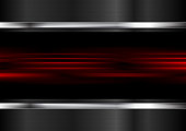 Red abstract glowing stripes and metallic tech vector background