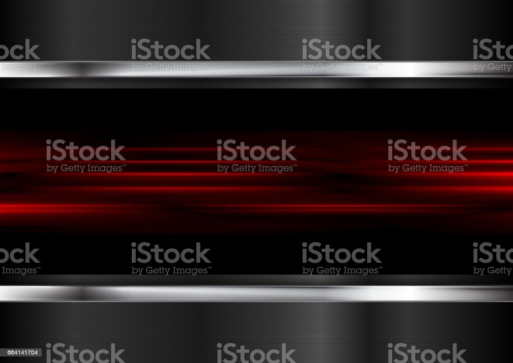 Red glowing stripes and metallic background vector art illustration