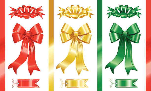 красный, золотой, зеленый бантами - four seasons stock illustrations