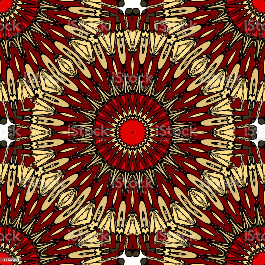 red, gold color seamless pattern with kaleidoscope design. vector illustration royalty-free red gold color seamless pattern with kaleidoscope design vector illustration stock vector art & more images of art