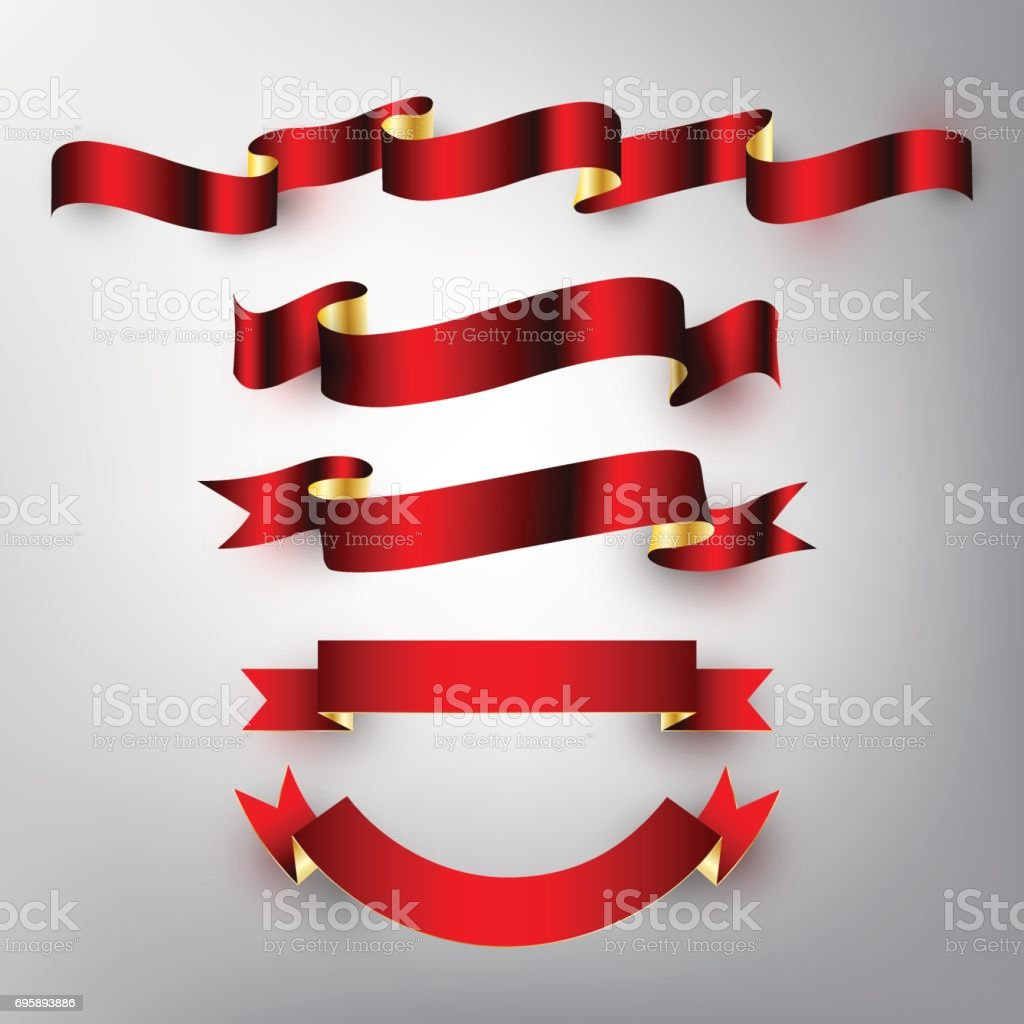 Red gold glossy ribbon vector design banner, badge, icon, vector