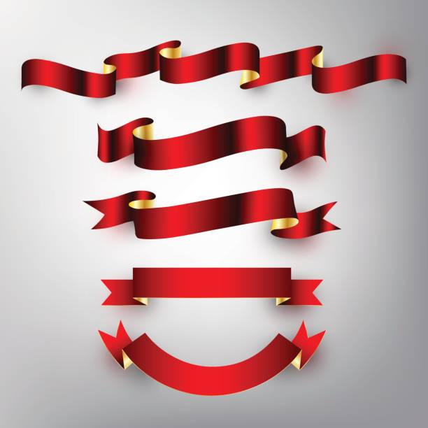 Red gold glossy ribbon vector design banner, badge, icon, vector vector art illustration