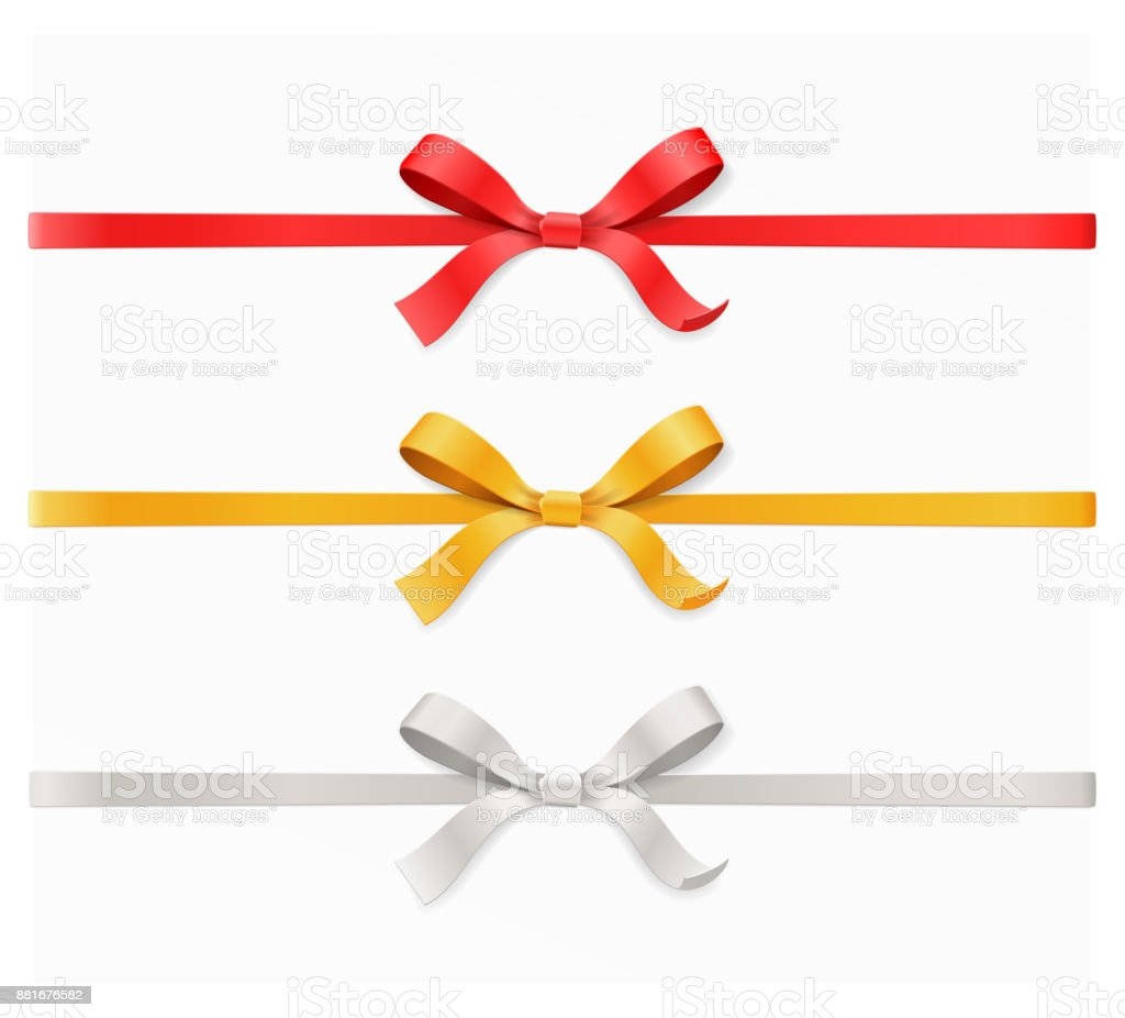 Red, gold, silver color bow knot and ribbon isolated on white background. Vector illustration 3d top view - arte vettoriale royalty-free di Albero