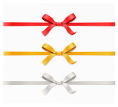 Red, gold, silver color bow knot and ribbon isolated on white background. Vector illustration 3d top view