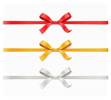 Red Gold Silver Color Bow Knot And Ribbon Isolated On White Background Vector Illustration 3d Top View - Immagini vettoriali stock e altre immagini di Albero