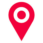 istock Red GPS pointer location map icon vector illustration 1206620219