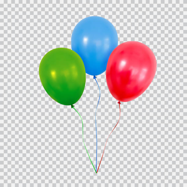 Red green and blue helium balloons set isolated on transparent background. Red helium balloon. Birthday baloon flying for party and celebrations. Isolated on plaid transparent background. Vector illustration for your design and business. birthday silhouettes stock illustrations