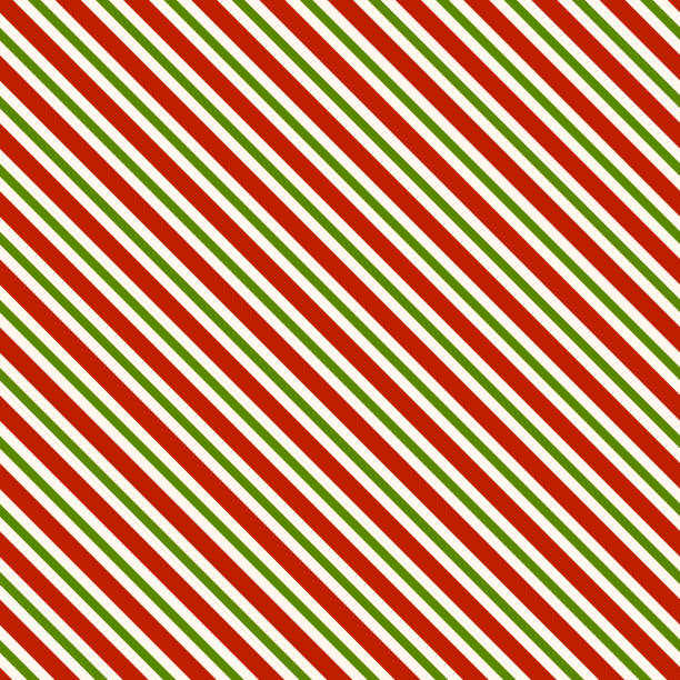 red green and white diagonal lines - seamless pattern background - papier do pakowania stock illustrations