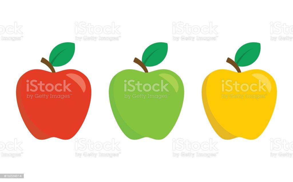 빨강, 녹색 및 노란 사과 흰 배경에 고립. 평면 디자인 스타일에 벡터 아이콘 세트 - 로열티 프리 가을 벡터 아트