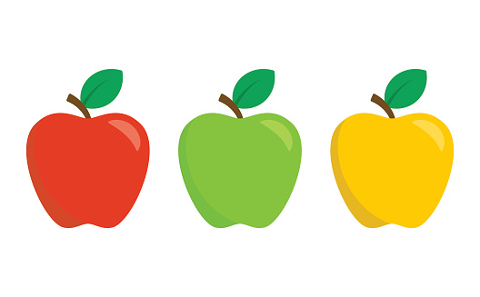 赤緑黄色のりんごが白い背景で隔離フラットなデザイン スタイルのベクトル アイコンのセット - アイコンのベクター ...