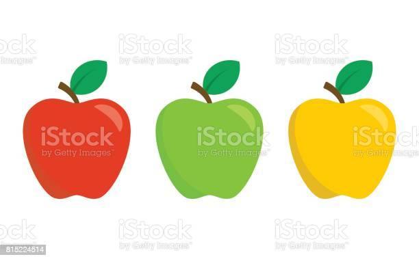 빨강 녹색 및 노란 사과 흰 배경에 고립 평면 디자인 스타일에 벡터 아이콘 세트 가을에 대한 스톡 벡터 아트 및 기타 이미지