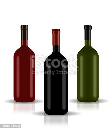 istock Red, Green, Black naturalistic closed 3D wine bottle of different colors without label. Vector Illustration 1304096584