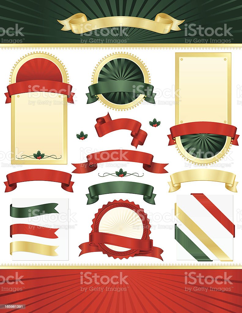 Red, Green, Gold, Off-White Ribbons, Seals, Placards; Optional Christmas Holly royalty-free stock vector art