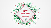 Red Green Square Christmas Placard with Christmas and New Year wishes