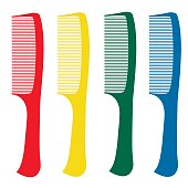 Red, green, yellow, blue comb on a white background