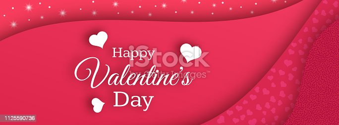 Happy Valentines Day Background. Red greeting horizontal banner with text and hearts. Vector illustration.