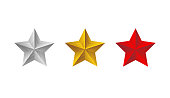 Red grey gold stars set. Vector 3d isolated illustration on white background