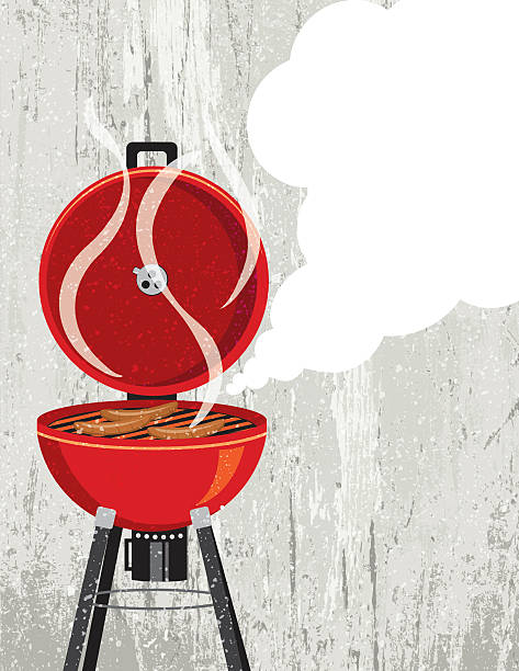Red Grill Barbecue Cooking Hotdogs vector art illustration