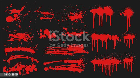 istock Red Grunge Brushes Set 1191049845