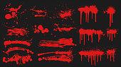 Red grunge brushes on black background isolated