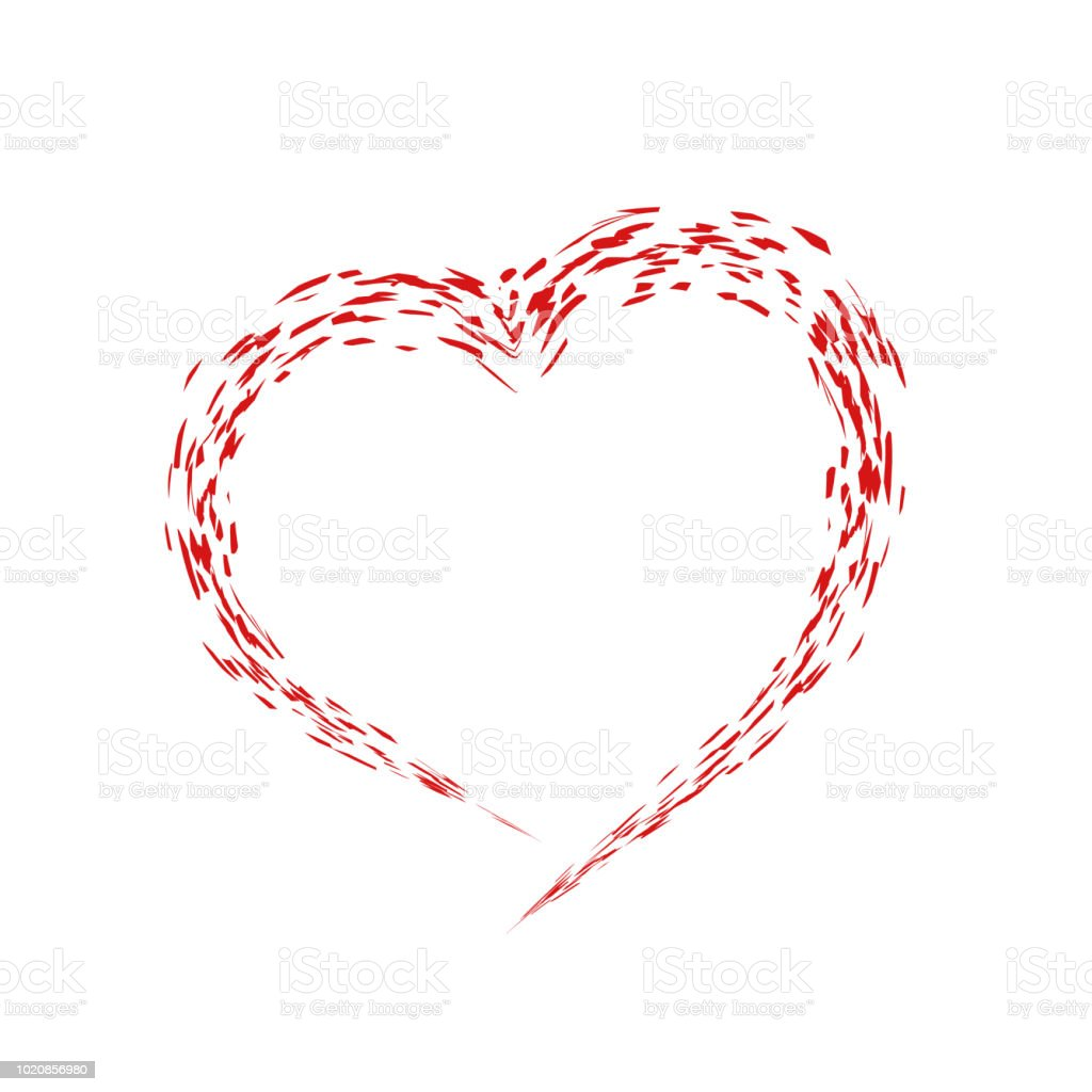 Red Grunge Shape Of Heart Symbol Of Love Valentines Day Vector