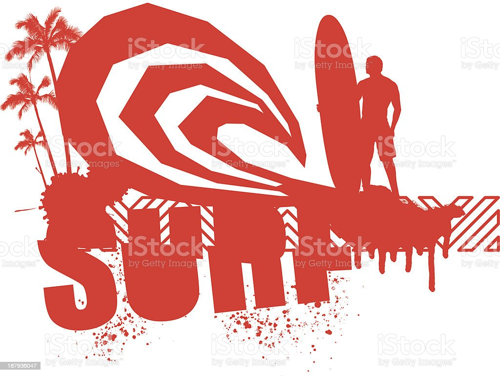 red grunge surf scene with surfer royalty-free stock vector art
