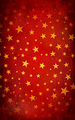 Red Grungy Vector Starry Background. Golden Yellow stars of different sizes. SNowflakes as watermarks. Can be used as background or gift wrapping sheet. Merry Christmas, happy festive background. Pentagram