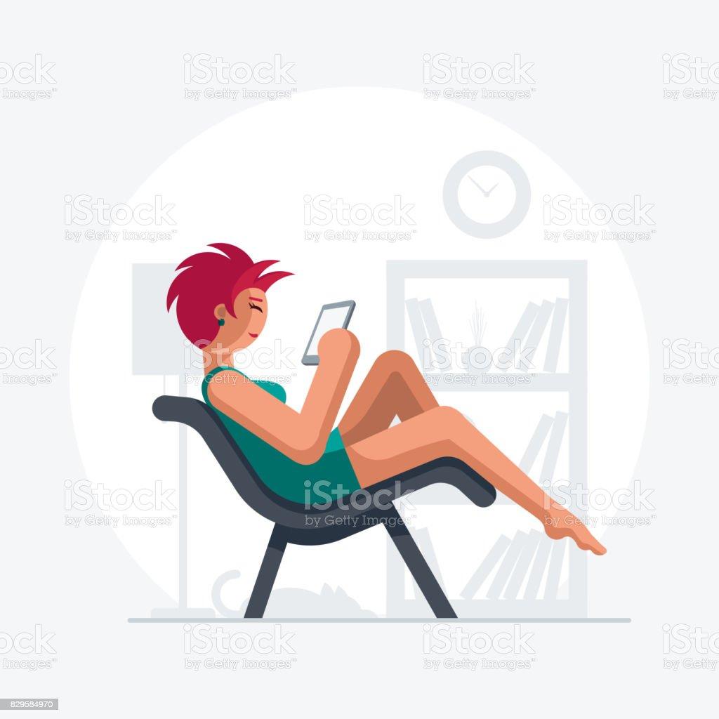 Red hair beautiful lady on sofa. vector art illustration