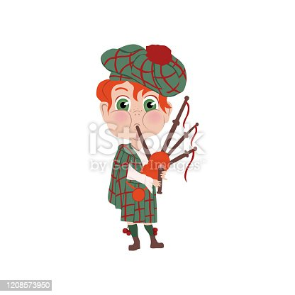 Red hair boy with striped hat scottish nation with musical bagpipes. Flat style. Vector illustration on white background