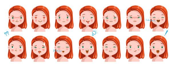illustrations, cliparts, dessins animés et icônes de fille de cheveux roux - femme tache de rousseur