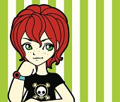 Vector illustration of red haired punk girl.