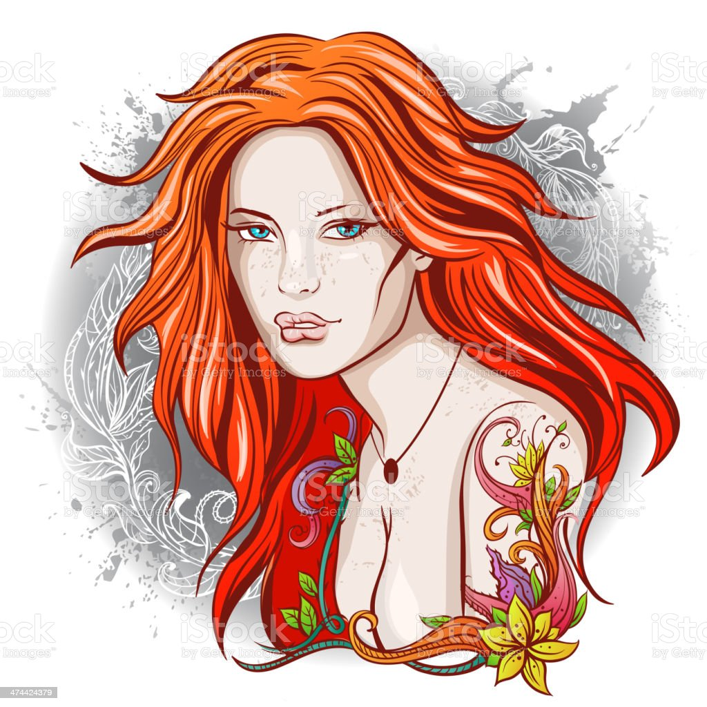 Red haired girl with tattoo vector art illustration