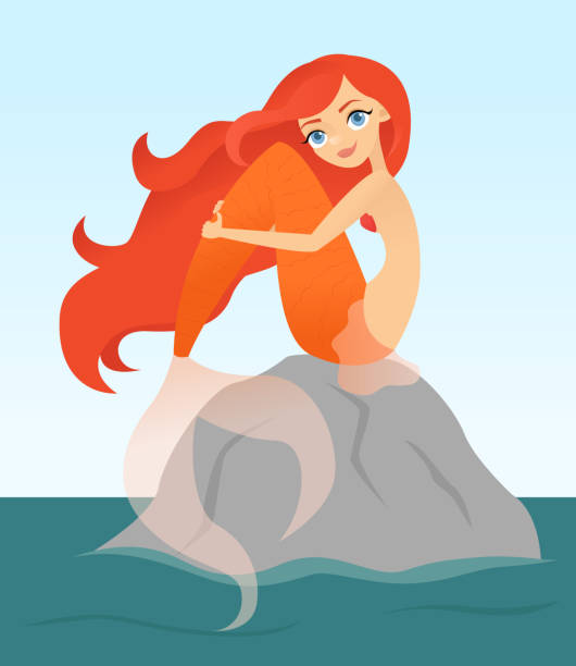 Red haired mermaid sitting on a rock vector art illustration