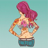 Red haired tattooed girl illustration.