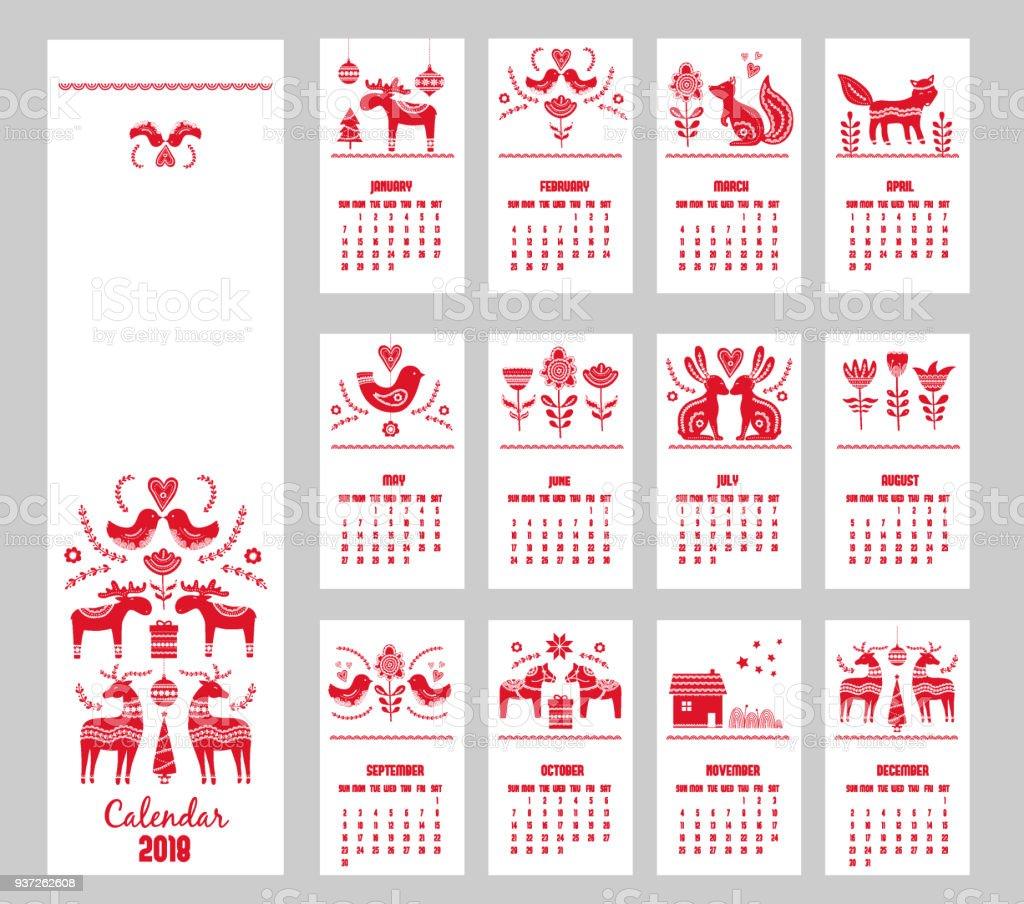 Calendario dibujado de la mano roja año 2018 en estilo escandinavo - ilustración de arte vectorial