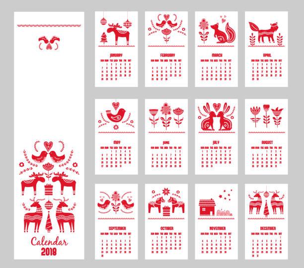 bildbanksillustrationer, clip art samt tecknat material och ikoner med röda handen ritade kalender 2018 år i skandinavisk stil - swedish nature