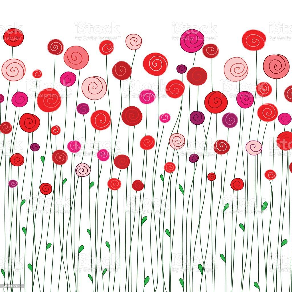 Rouge Fleurs Rose Dessine A La Main En Dessin Anime Cliparts