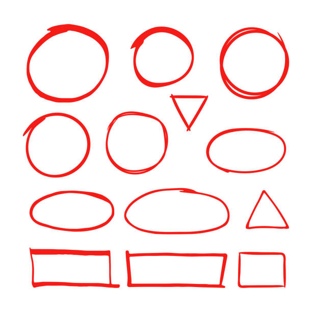 Red hand drawn shapes marker for highlighting text isolated on white background vector art illustration