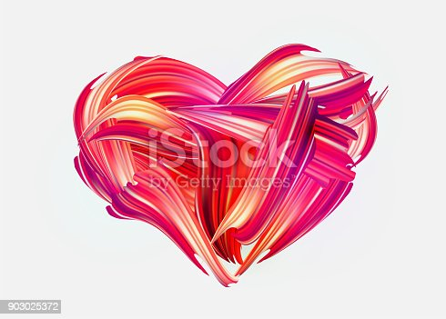 Red hand drawn smear of paint LOVE lettering for card, poster, flyer