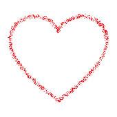 Red Hand Drawn Thin Contour Grunge Heart logo