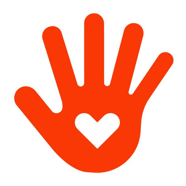 ilustrações de stock, clip art, desenhos animados e ícones de red hand print, palm shape with white heart, sign of love. vector illustration on white background - coração fraco