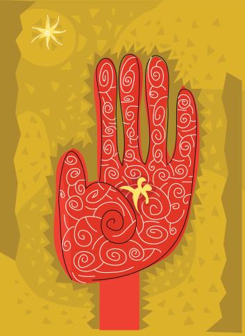 Red Hand Stockvectorkunst en meer beelden van Buitenopname