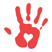 Red Handprint With Heart Symbol