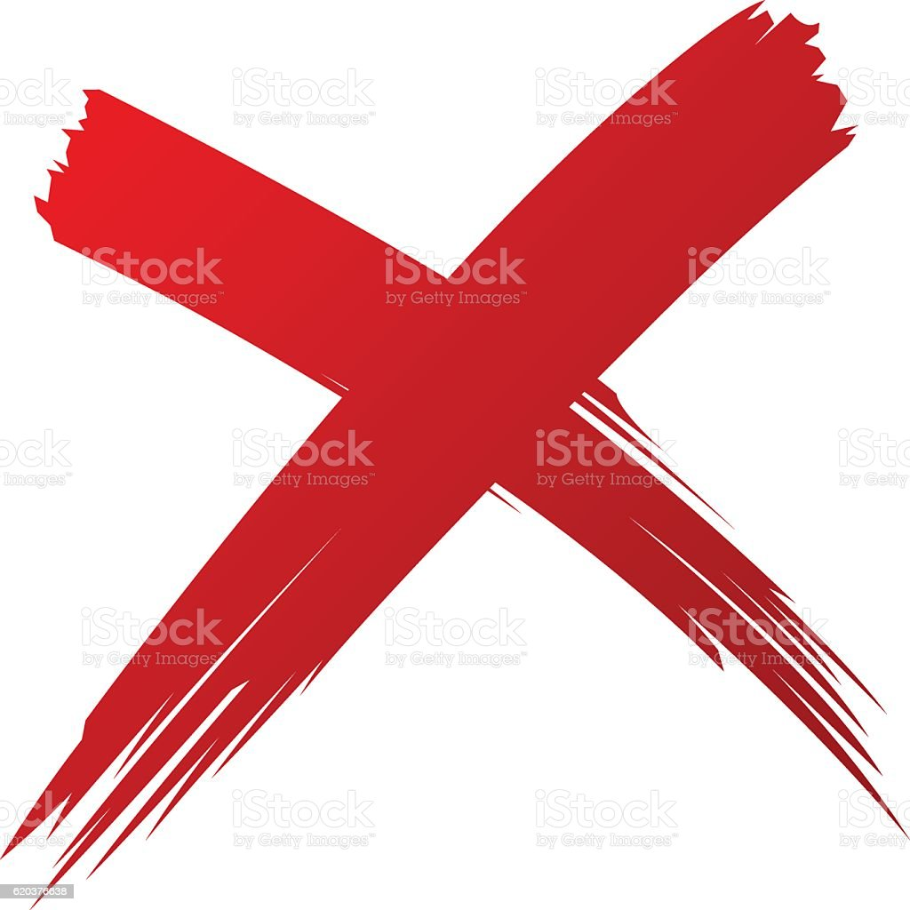 X Red handwritten brush isolated vector art illustration