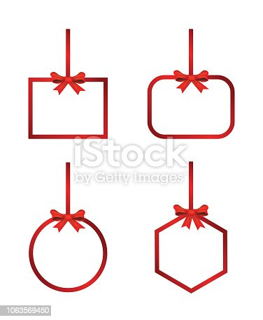 Vector Red hanging frame, banner with  bow and ribbon