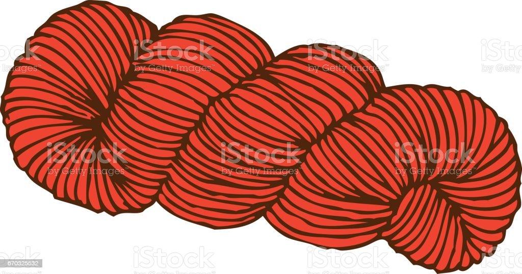 Rojo madeja de hilo - ilustración de arte vectorial