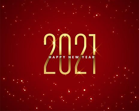 2021 red happy new year sparkles golden banner design