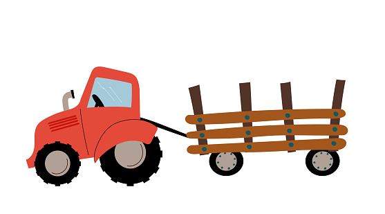 Red harvesting tractor with semi-trailer icon flat