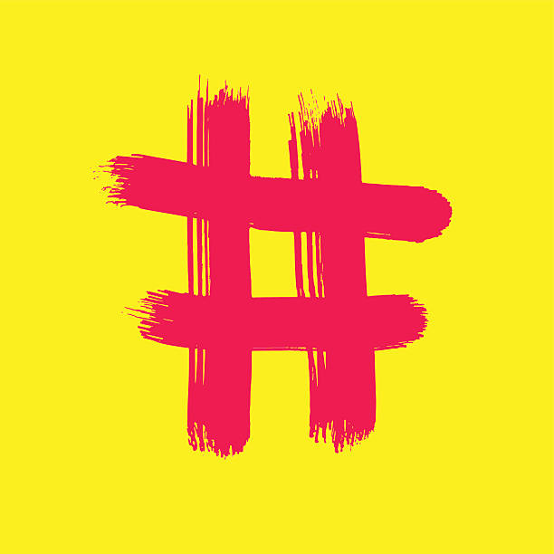 Red Hash on yellow vector art illustration